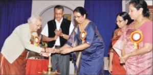 Sree Kaveri Kodagu Mahila Sangha's Advisor Parwati Cariappa (extreme left) and Sangha President Sarasu Nanaiah are seen lighting the lamp at the inauguration of the free health camp in city yesterday as chief guest Dr. P.A. Kushalappa, Sangha Organising Secretary Gowri Mandanna and Hon. Secretary Lovely Appaiah look on.