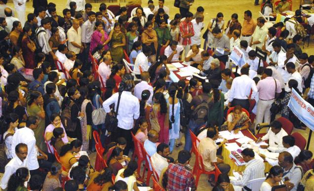 Students throng the Mangala auditorium at Mangalore University for PG admissions./  Photo: H.S. Manjunath / The Hindu