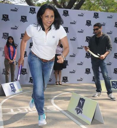 Ashwini Nachappa takes part in the PUMA ``School of Speed'' event. / Photo: Special Arrangement / The Hindu
