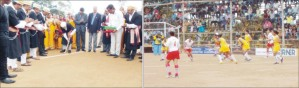 Kodava Hockey Academy President Pandanda Kuttappa is seen hitting a silver hockey ball with silver hockey stick to mark the inauguration of Thathanda Hockey Namme-2014 at Virajpet in Kodagu yesterday. ( Picture right ) shows women in action.