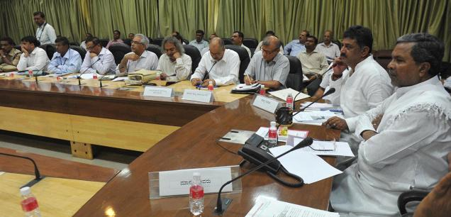 Chief Minister Siddaramaiah and Energy Minister D.K. Shivakumar at a meeting to discuss the power line project, in Bangalore on Tuesday /. Photo: Sampath Kumar G.P. / The Hindu