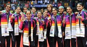 The jubilant Indian women with bronze medals./ Photo: by Sandeep Saxena