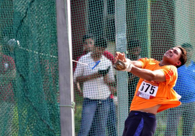 The Hindu Going a step further: Chandrodaya Narayan Singh of Uttar Pradesh won with his second throw of 67.84, to better his own mark of 67.78, beating national record holder Kamalpreet Singh. Photo: Akhilesh Kumar / The Hindu