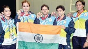 (From left) India's Commonwealth Games 2014 badminton medallists Ashwini Ponnappa & Jwala Gutta (silver), Parupalli Kashyap (gold), RMV Gurusaidutt (bronze) and PV Sindhu (bronze) in Glasgow on Sunday | pti