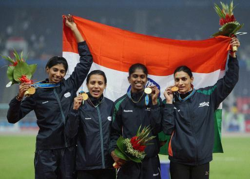 Mandeep Kaur (second from left), who ran an impressive third leg was part of that gold-winning quartet in the 2010 Guangzhou Games. File Photo / PTI