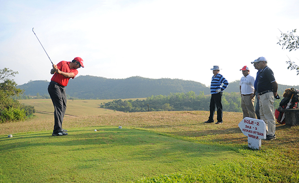 In full swing: Golfers flock to the Mercara Downs Golf Club on weekends. Photo by Bhanu Prakash Chandra