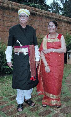 NEW-LOOK ADVANIS: Senior BJP leader L.K. Advani and wife Kamala Advani in traditional Kodava attire in Kodagu (File Photo) / The Hindu
