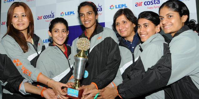 ALL SMILES: The PSPB women, led by World No. 10 P.V. Sindhu (third from left), clinched the Chadha Cup for the 15th consecutive time. Photo: Ch. Vijaya Bhaskar / The Hindu
