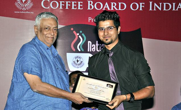 Naman Kohli claiming the National Barista Championship in Bengaluru on Friday.