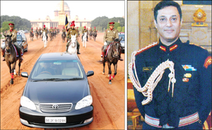 The President's limousine flanked by Col. Bommanda Dhiraj Chengappa (left) at the dress rehearsal for the Republic Day Parade, exiting the Rashtrapati Bhavan to enter the Rajpath along with other Horsemen.