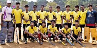FINISHING ON TOP:Cauvery College edged out St. Anne's College 1-0 in the final of the State-level inter-collegiate hockey tournament on Wednesday.