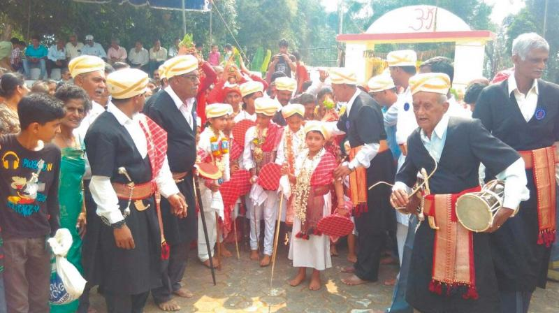 The Kodava style marriage underway at Birunaani village in Virajpet taluk of Kodagu district on Tuesday.