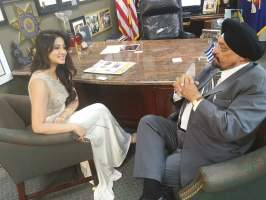 Harshika Poonacha in conversation with The Indian Panorama editor Prof. Indrajit S Saluja at Bobby Kumar's Senior Care Center in Hicksville, May 23