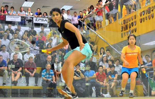 Joshna Chinappa (in front) in action at the HKFC International in Hong Kong on Friday (image courtesy: Hong Kong Squash Twitter)