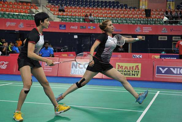 Ashwini Ponnappa with her doubles partner Jwala Gutta