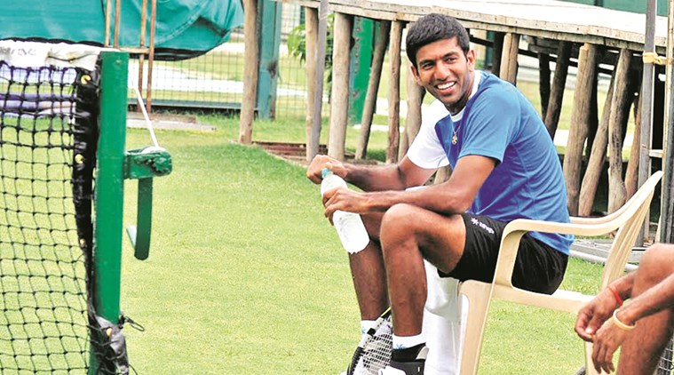 Rohan Bopanna at Chandigarh Club. He will team up with Paes in the Davis Cup doubles tie against South Korea at the weekend.