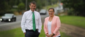 Upgrade: NSW Premier Mike Baird and Holsworthy MP Melanie Gibbons standing in front of Harris Bridge in Holsworthy. Picture: Simon Bennett.