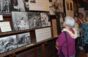 KHS Board Member Alfreida Fujita gets a sneak peak at the KHS exhibit on March 23, 2017. Photo courtesy of Kona Historical Society.