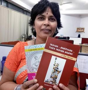 Author Lakshmi Palecanda with her two new books in Mysuru.