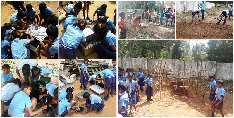 Children building solar cooker from waste and managing a vegtable garden at E-base.