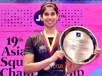 Joshna Chinappa with her Asian Squash Championship title which she won in April (Twitter image)