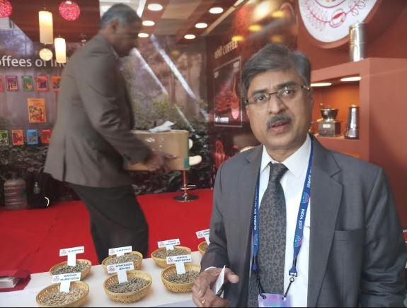 A stall put up by the Coffee Board to showcase different varieties of Indian coffee at the Global Entrepreneurship Summit (GES) being held in Hyderabad on Tuesday. (Photo: G Naga Sridhar)