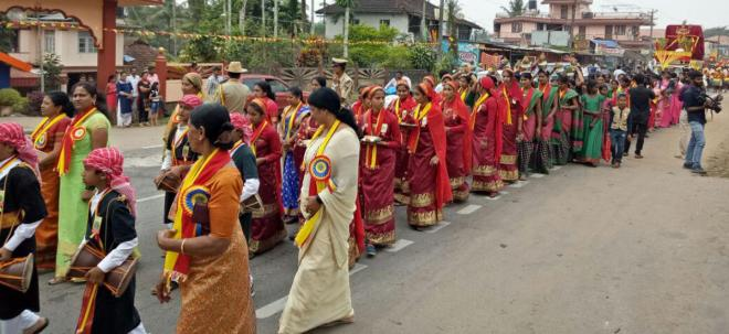 Sthree Shakthi members take out a procession.
