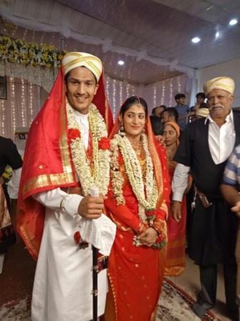 SHEER JOY Badminton ace Ashwini Ponnappa (right) and Karan Medappa tied the nuptial knot in Ammatti on Sunday. DH PHOTO